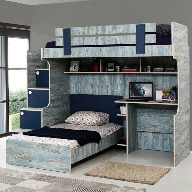 Blueish Modern High Sleeper: Stairs with chest of drawers, children's bed and a study desk