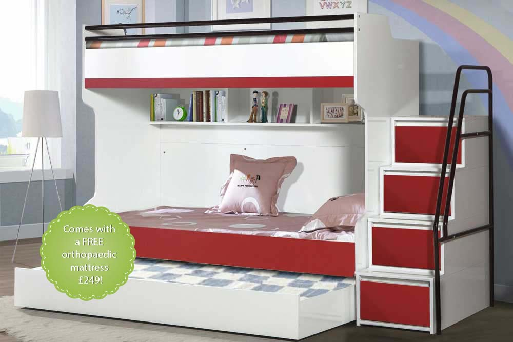 Bueno Red Modern Triple Bunk Bed