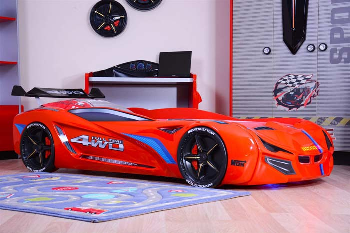 MERCEDES RED CAR BED with BULGING WINGS