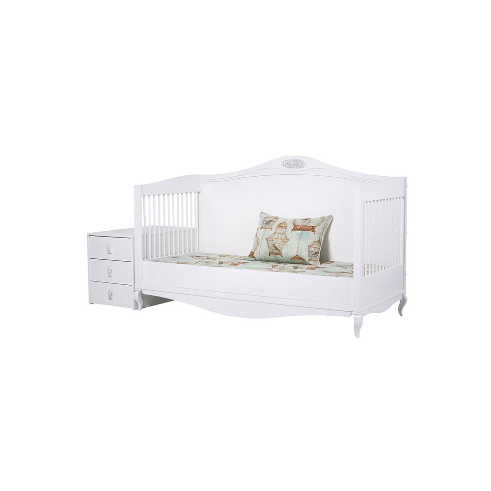 Jasmin Contemporary White Cot Bed With Drawer