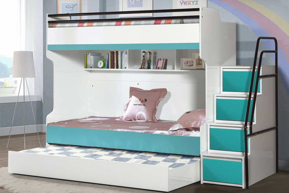 Bueno Turquoise Contemporary Triple Bunk Bed