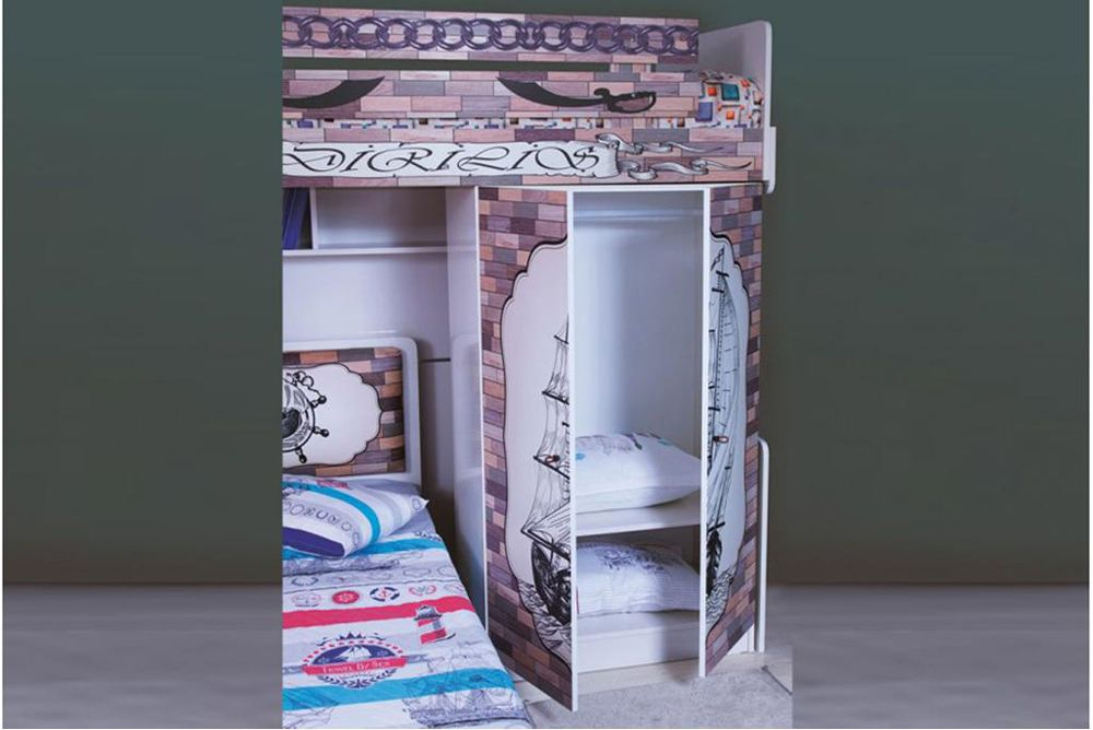 Pirates High Bed With Wardrobe