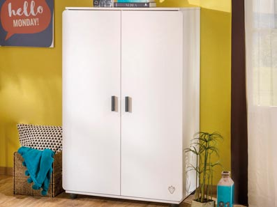 Compact Lavish And Exotic 2 Door White Wardrobe