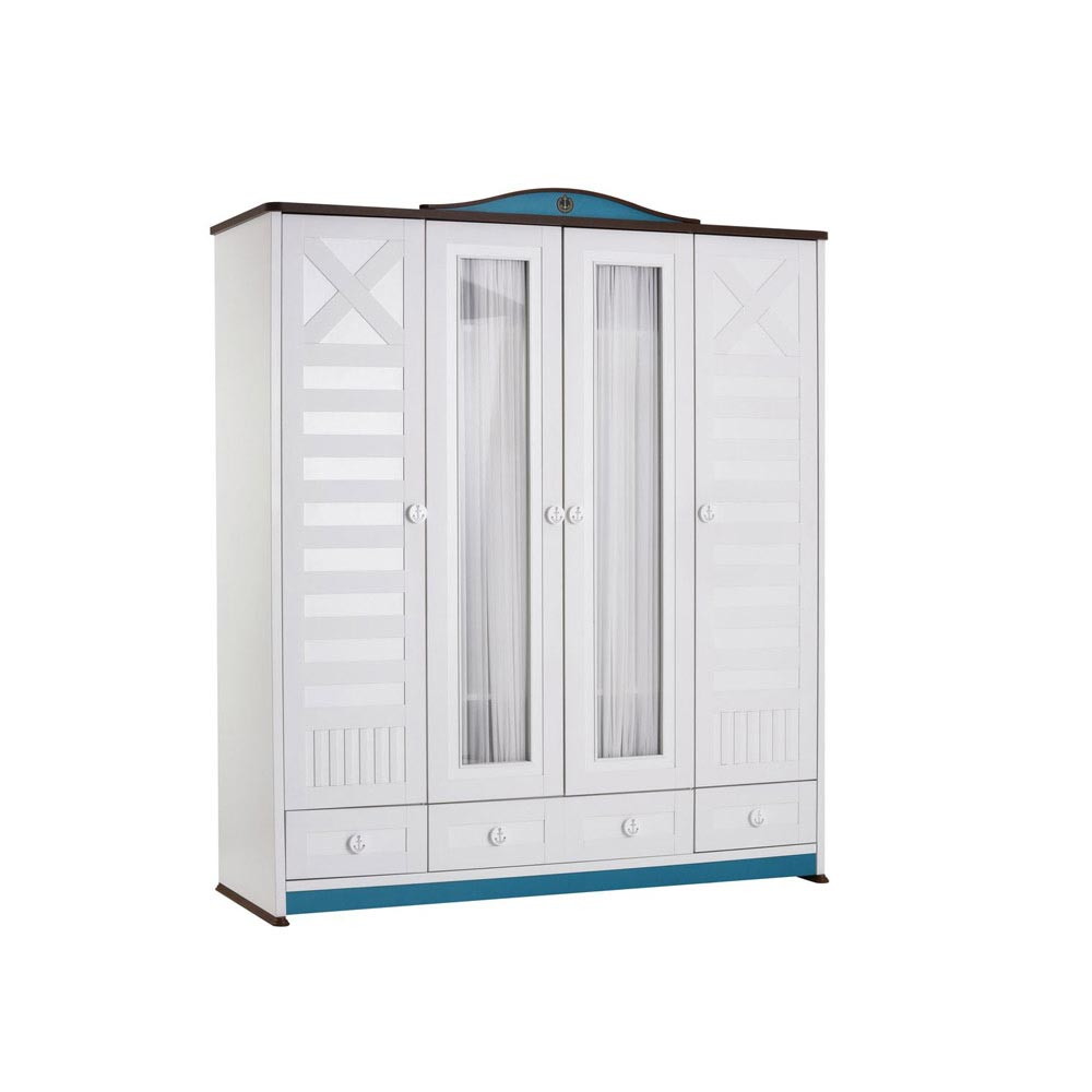 Sailing Baby Contemporary 4 Door White Wardrobe
