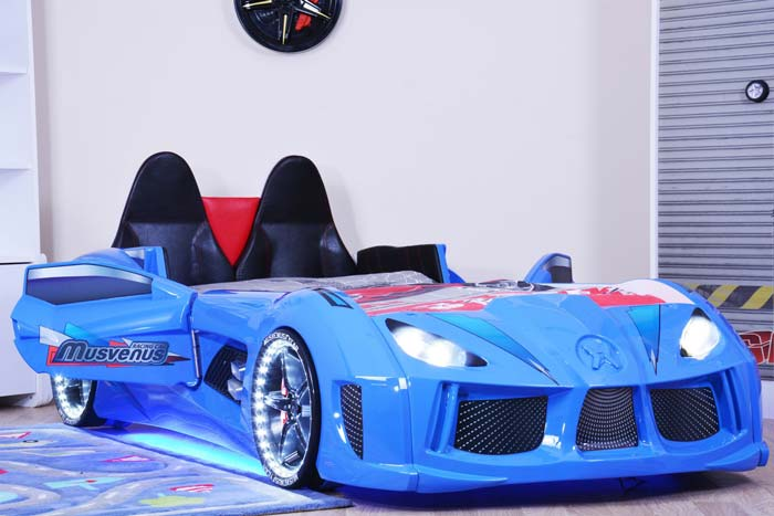 Audi V7 Blue Car Bed with Sporty Leather Seats, Car Doors and LED Lights