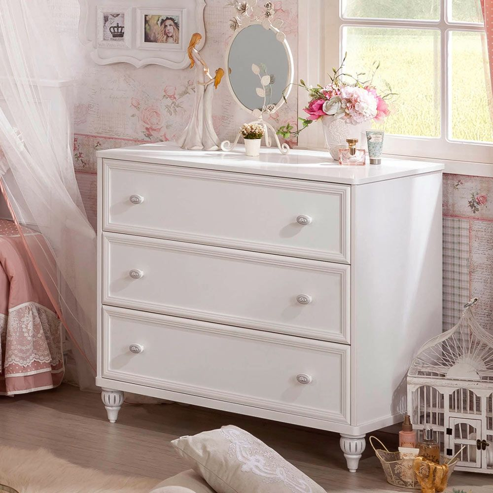 Romantic Decorative White Chest Of Drawers