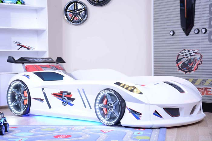 Jaguar White Car Bed with Bulging Wings and Led Lights