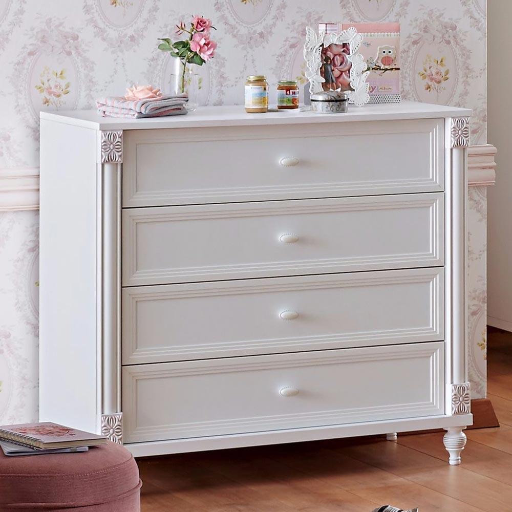 Rose Baby Contemporary White Bedroom Dresser