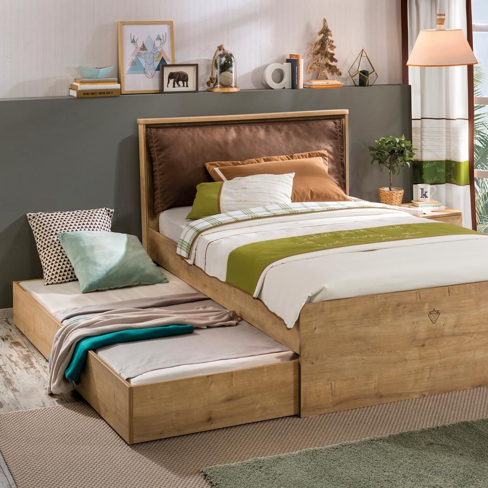 Mocha Boys Single Bed With Trundle