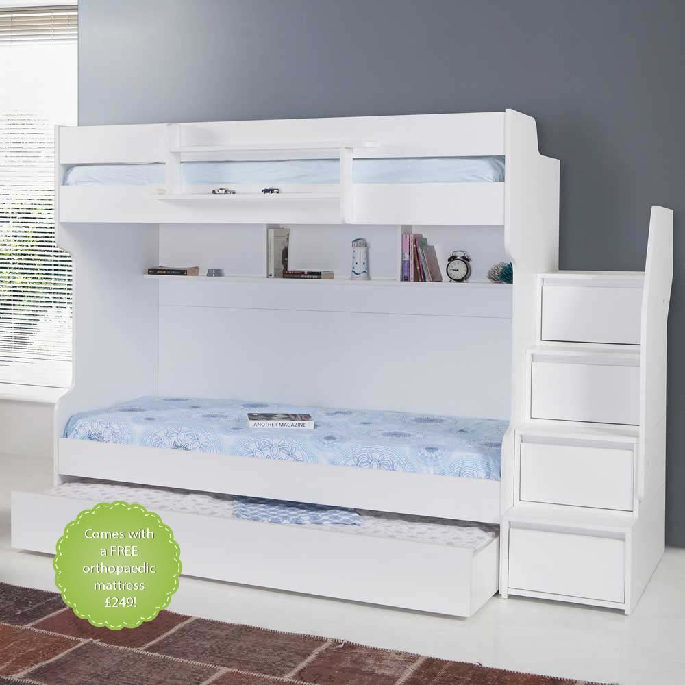 Brave White Modern Bunk Bed with a Trundle Bed