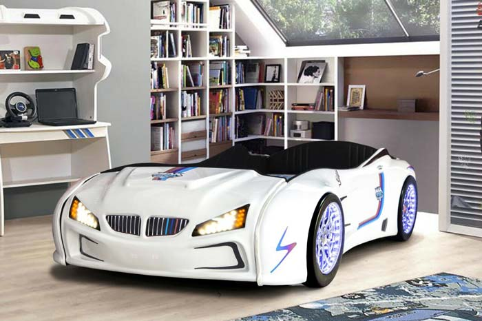 BMW M3 WHITE KIDS CAR BED with FULL LEATHER SEATS and LED Lights
