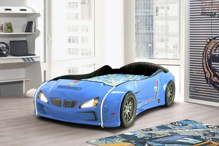 BMW M3 BLUE KIDS CAR BED with FULL LEATHER SEATS