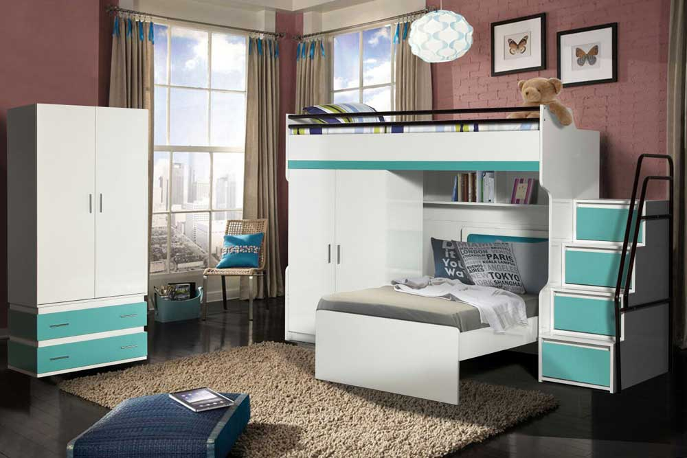 Bueno Loft Bunk Beds Set With 2 Door Wardrobe