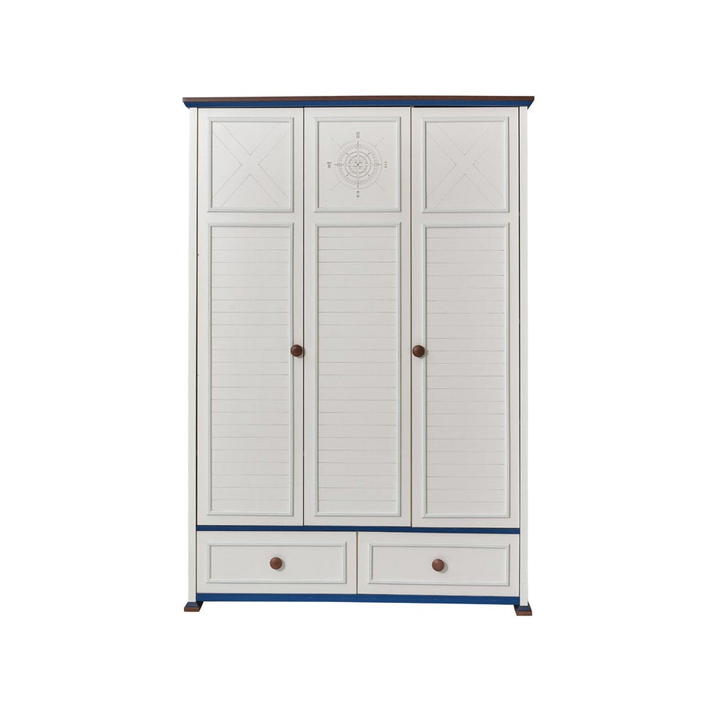 Ocean Baby Contemporary White Triple Wardrobe