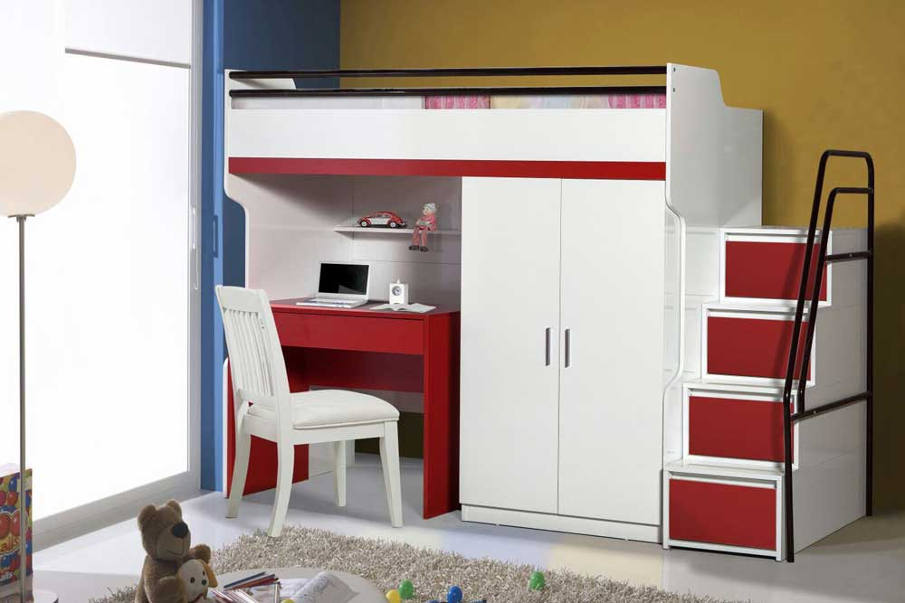 Bueno Red: Bunk Bed, 2 door under bunk bed wardrobe, Children's Bed and a Study Desk