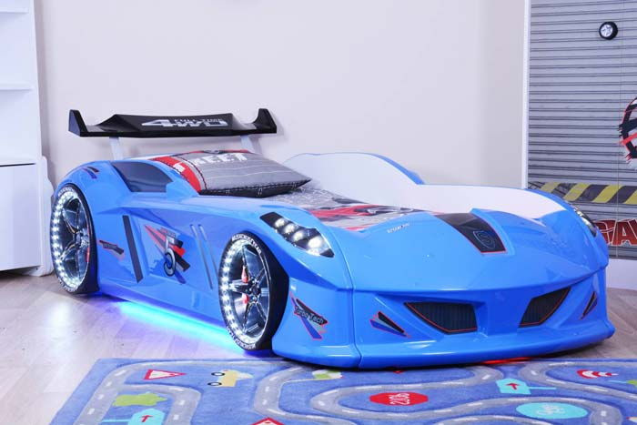 Jaguar Blue Car Bed with Bulging Wings and Led Lights